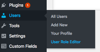 User Role Editor Option