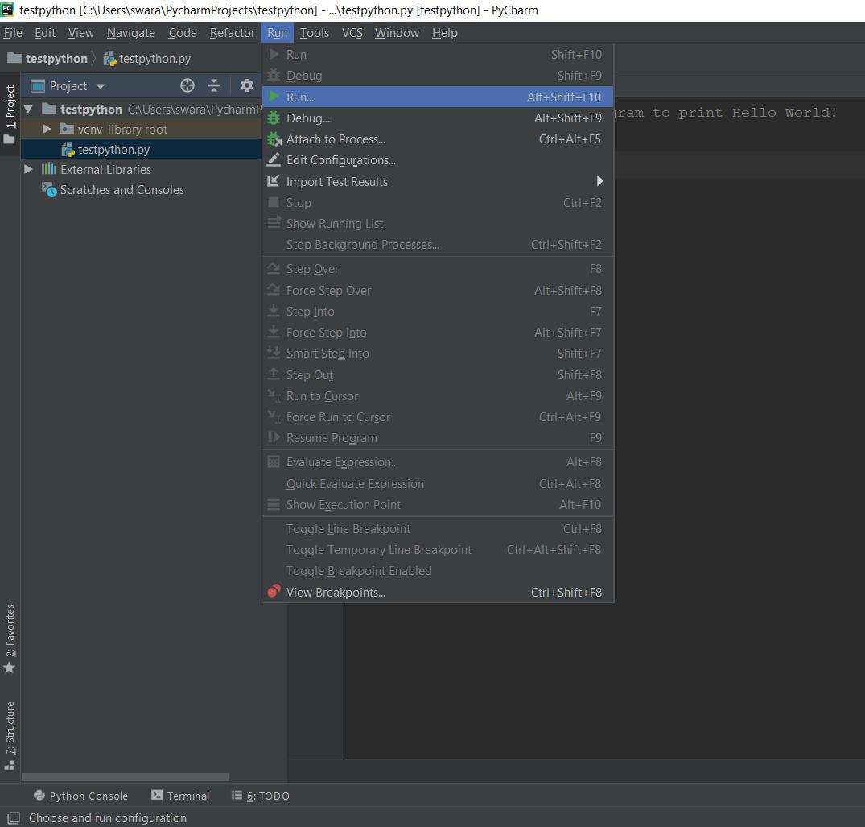 PyCharm Run Python File