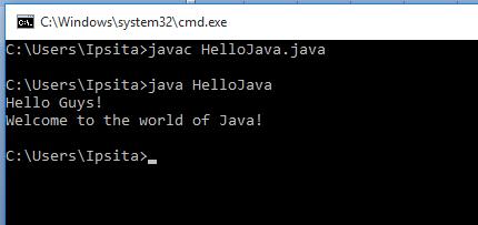 HelloJava output in terminal