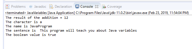 Java Variables Result