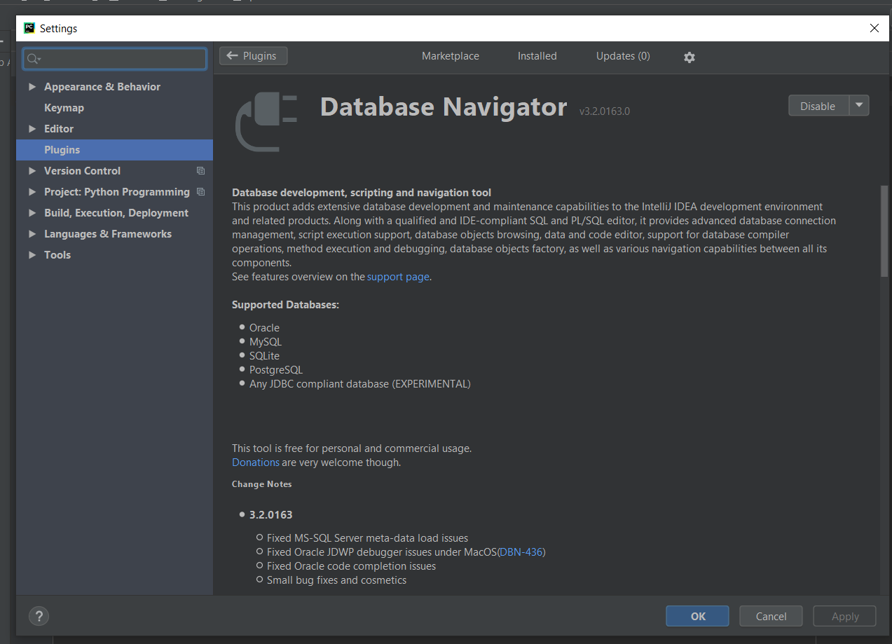Databases Navigator Plugin